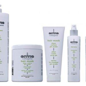 Composta da shampoo, maschera e fluido per i capelli danneggiati, questa linea utilizza una formulazione al Collagene.