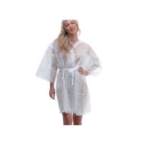 Kimono bianco in tnt, monouso, unisex,taglia unica